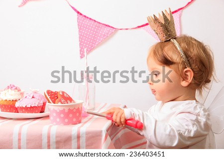 little princess at pink girls party - stock photo