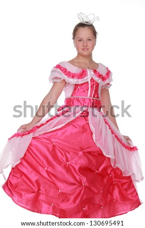 Little princess in pink long dress