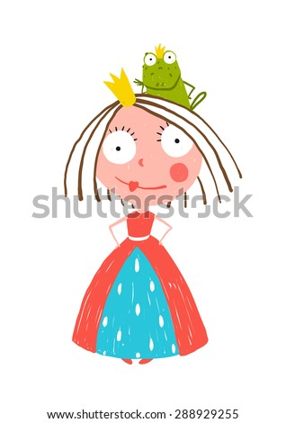 Little Princess Standing with Prince Frog Sitting on Head. Colorful fun childish hand drawn illustration for kids fairy tale. Raster variant. - stock photo