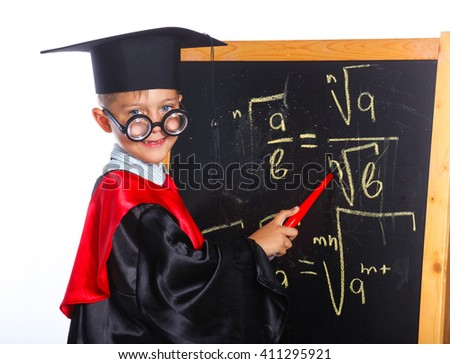 Little Professor boy in academic hat. Isolated on a white background - stock photo