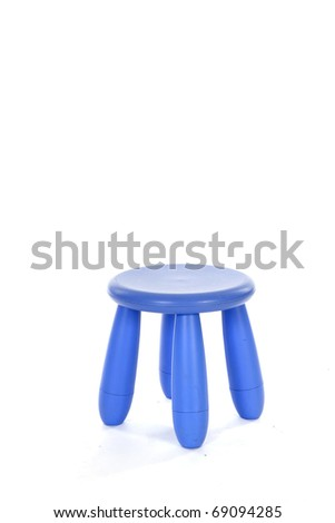 Little purple stool with four legs isolated over white