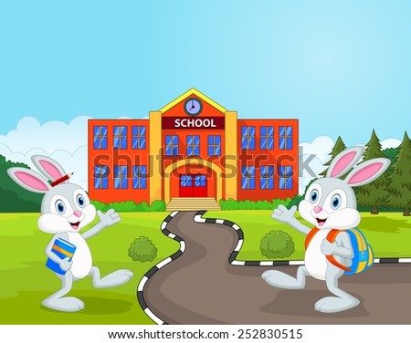 Little rabbits are going to school - stock photo