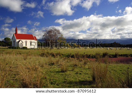 Little red and white church near Wellington on the North island of New Zealand