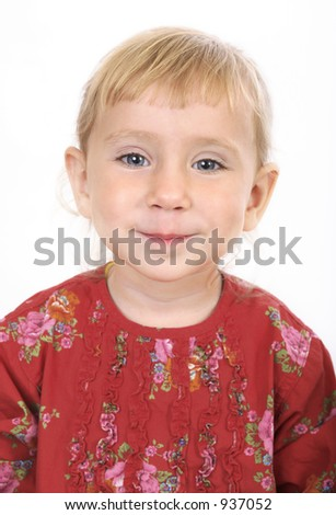 Little red angel girl - stock photo