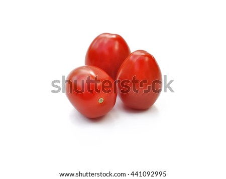 little red cherry tomatoes isolated on white background - stock photo