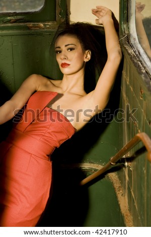 Little red dress - stock photo