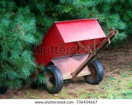 Little Red Garden Wagon Resting Beside A Pine Tree
