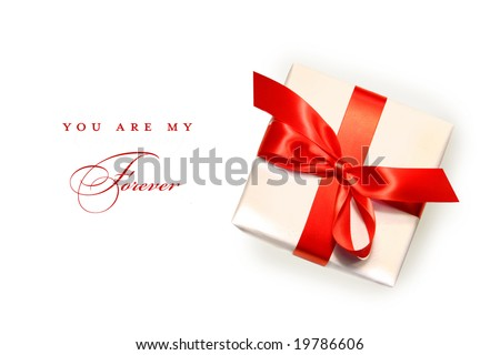 Little red gift isolated on white background - stock photo