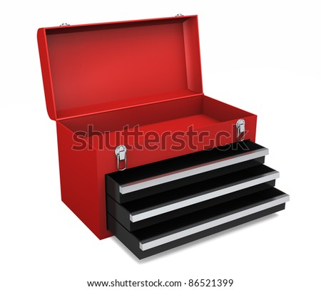 Little red portable toolbox with open drawers and top - stock photo