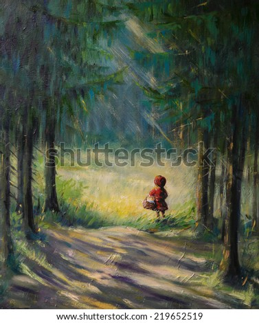 Little Red Riding Hood fairy tale.Picture created with acrylic . - stock photo