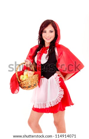 Little Red Riding Hood holding an apple basket