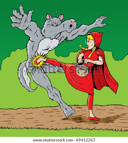 Little Red Riding Hood kicking the wolf, good for self defense. - stock photo
