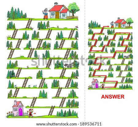 Little Red Riding Hood maze for kids. Help Little Red Riding Hood find a way to reach her grandma, who is living on the other side of the forest.  - stock photo