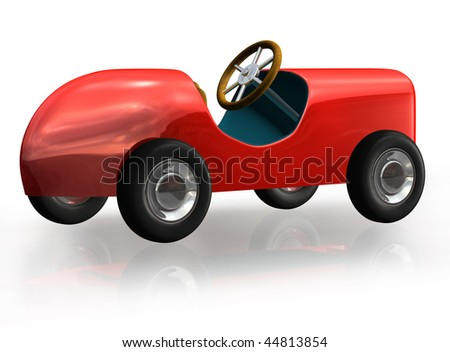 Little red toy car in 3D, isolated