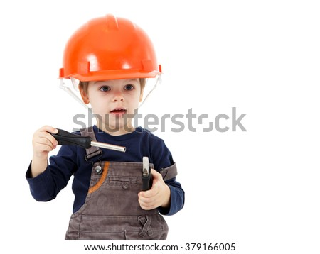 Little repairman in hardhat with pliers and screwdriver on white - stock photo