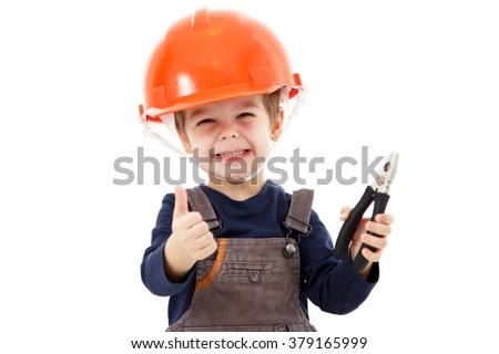 Little repairman in hardhat with pliers show thumb up on white - stock photo