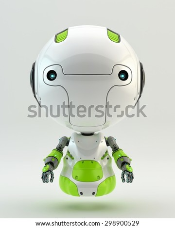 Little robotic child / Green air robot - stock photo