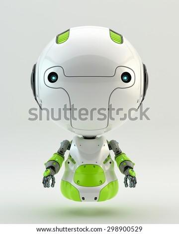 Little robotic child / Green air robot - stock photo
