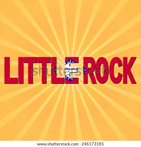 Little Rock flag text with sunburst illustration - stock photo