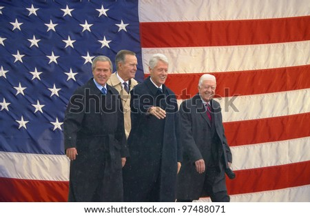 LITTLE ROCK - NOV 18: (PHOTO ILLUSTRATION) (L-R) Presidents George W. Bush, George H. W. Bush, Bill Clinton and Jimmy Carter appear together at the Clinton Library Nov 18, 2004 in Little Rock, AK.