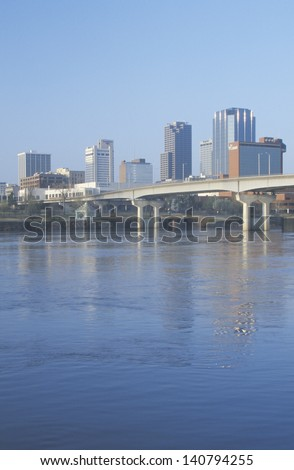 Little Rock skyline with Arkansas river in the foreground, Arkansas, USA - stock photo