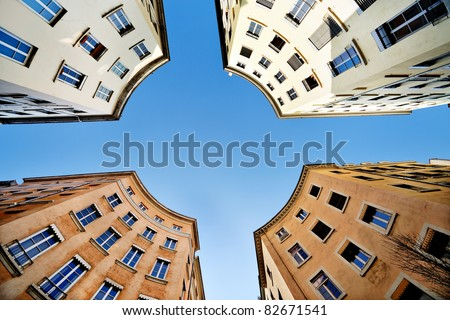 Little round place, on Capucin street in Lyon (Croix Rousse district) - stock photo