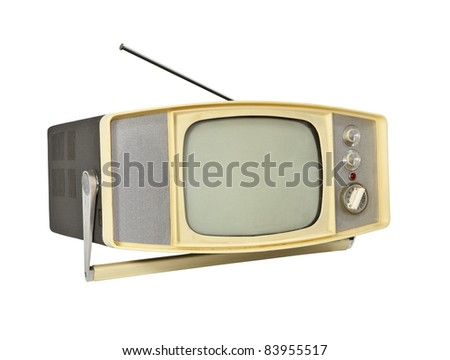 Little 1960's Portable TV with handle stand and antenna.