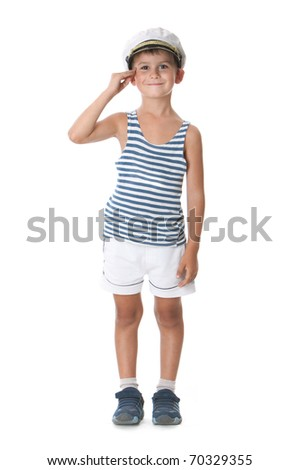 Little sailor boy salute isolated on white background - stock photo
