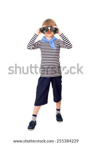 little sailor looking through binoculars - stock photo