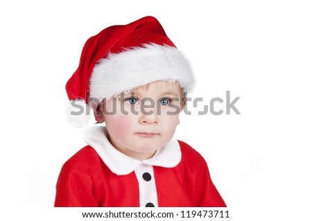 Little Santa Christmas boy looking to the right - stock photo