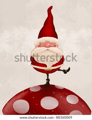 Little Santa Claus on big red fungus - stock photo