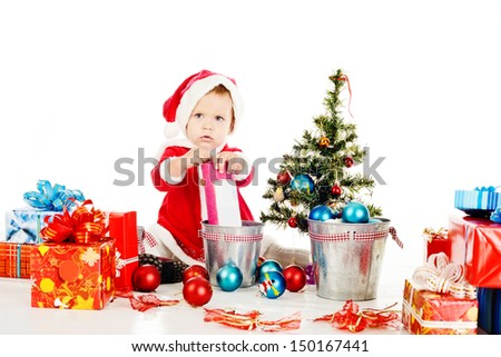 little Santa helper preparing for christmass