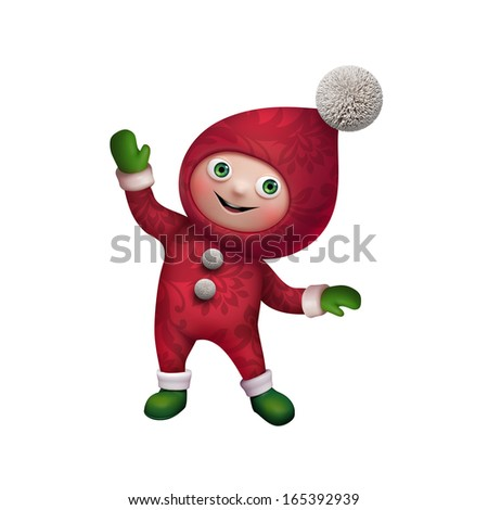 little Santa's helper, cute funny elf character, isolated on white background - stock photo