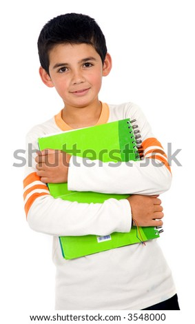 little school boy holding a notebook - isolated over a white background - stock photo