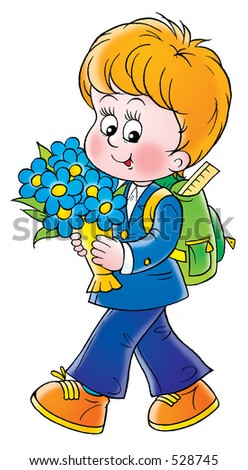 Little schoolboy with flowers