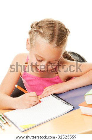 Little schoolgirl drawing - stock photo