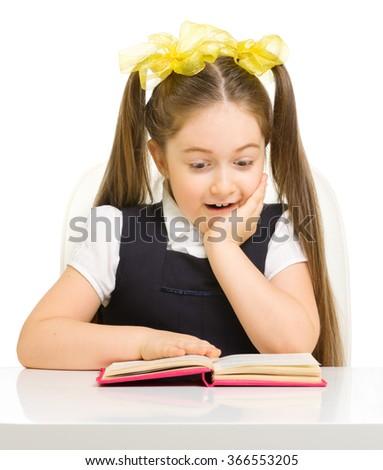 Little schoolgirl isolated on white - stock photo
