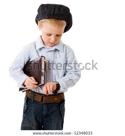 little serious businessman late for meeting isolated on white