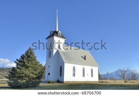 Little Shasta Church, Mount Shasta in the background - stock photo