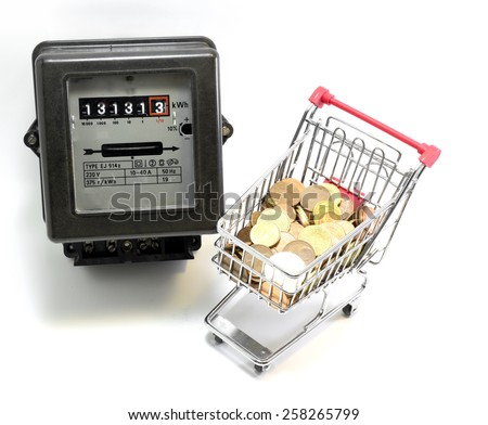 little shopping cart of European money to pay the electricity bills - stock photo