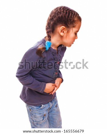 little sick child girl in pain in the stomach, belly aches and cramps disease medicine isolated on white background - stock photo