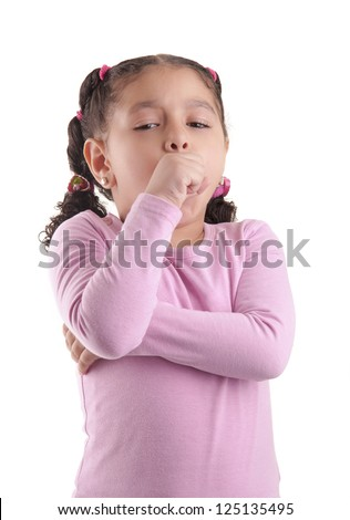 Little Sick Girl Coughing Isolated on White Background - stock photo