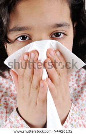 Little sick girl having flu - stock photo