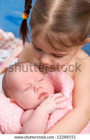 little sisters - stock photo