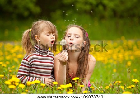 Little sisters blowing dandelion seeds away in the meadow - stock photo