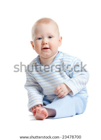 little sitting boy isolated on white background