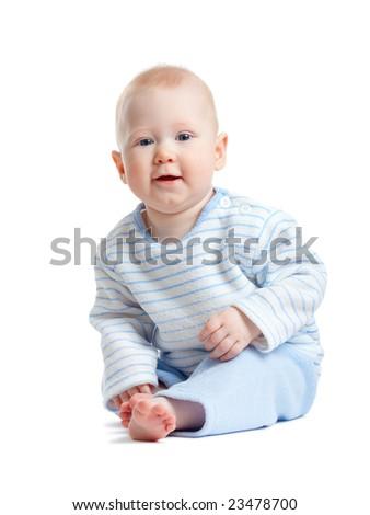 little sitting boy isolated on white background - stock photo