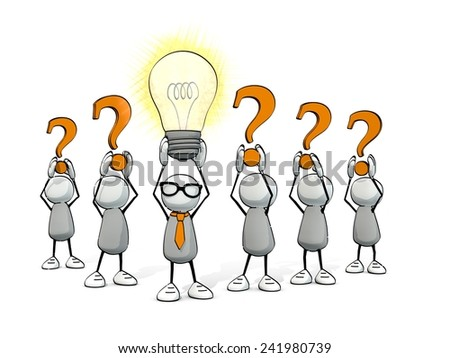 little sketchy little sketchy man with tie and glasses - glowing light bulb and orange  question marks  - stock photo