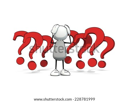 little sketchy man baffled with red question marks - stock photo