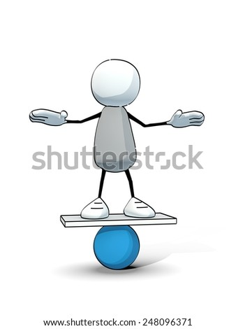 little sketchy man balancing on a blue ball - stock photo